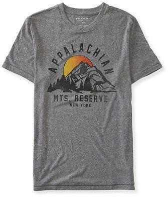 07c956a5653 Aeropostale Mens Appalachian Mountains Graphic T Shirt Medium Heather Grey