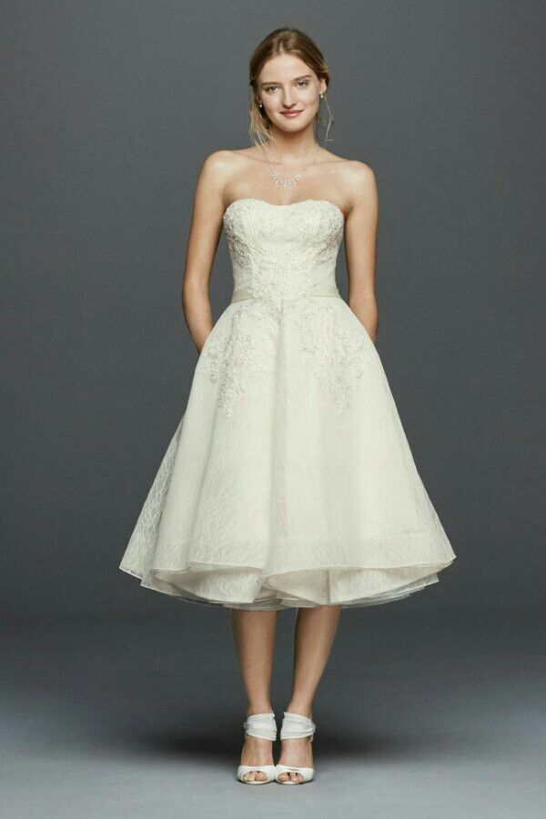 Sassy Strapless Lace Mid Length Wedding Dress Featuring A Semi