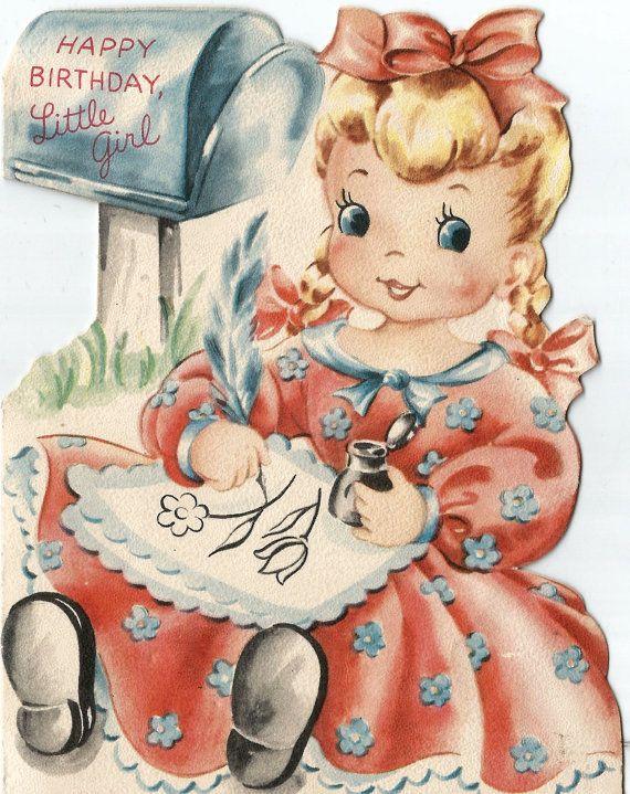 vintage happy birthday little girl mailbox card by biggdesigns