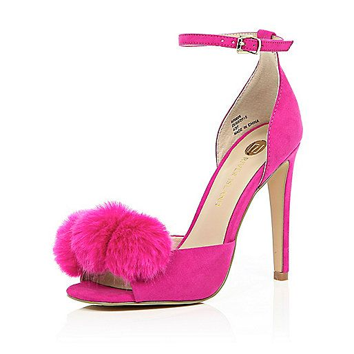 5dbc4668bed Bright pink pom pom barely there heels - heeled sandals - shoes   boots -  women