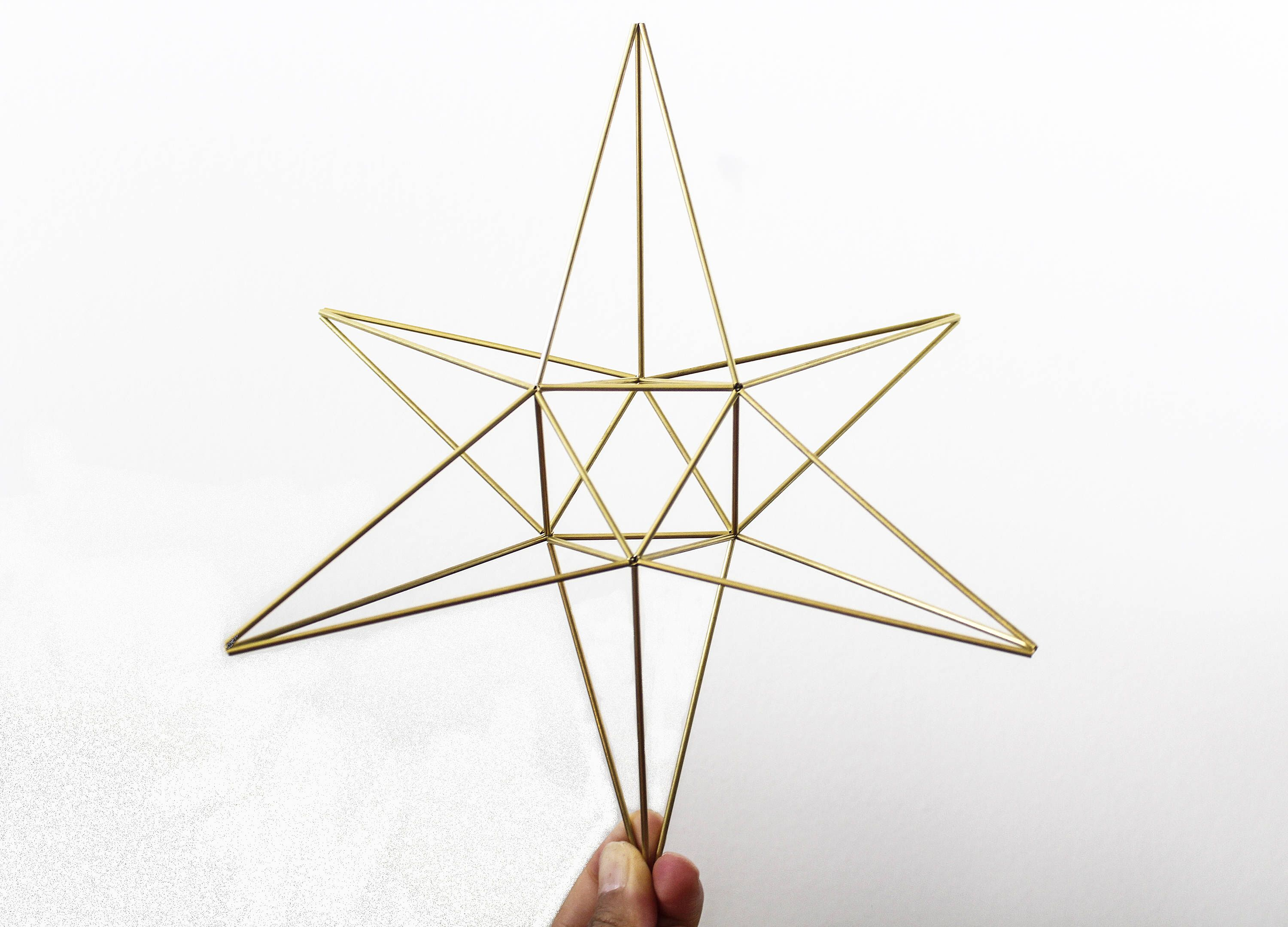 Star Himmeli Geometric Ornament Minimalist Scandinavian Christmas Tree Topper Wall