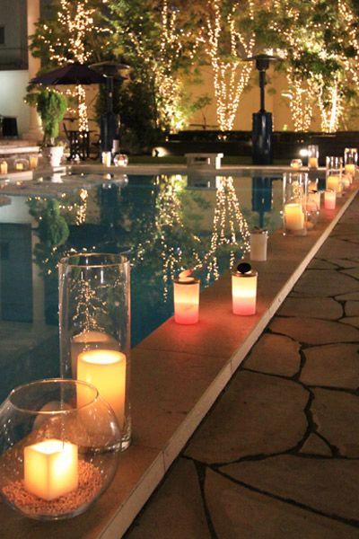 Poolside Candle Greekweddingcandles Pool Wedding Decorations