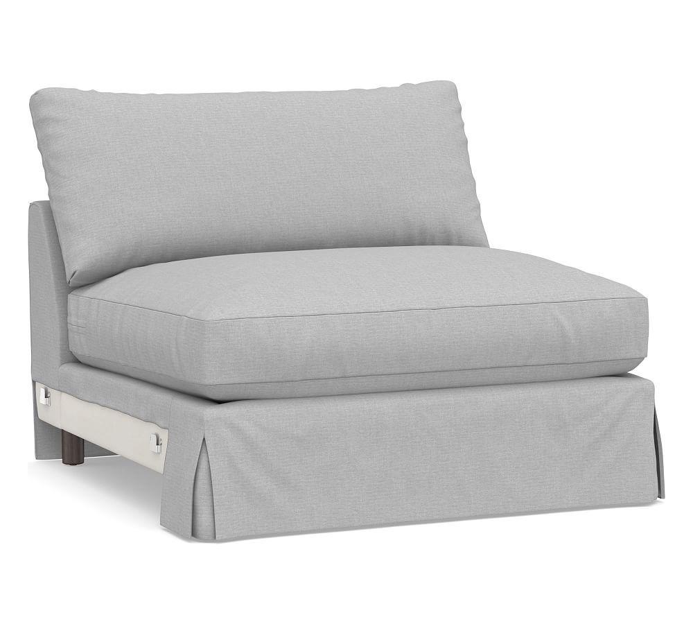 Sullivan Deep Armless Chair Slipcover, Brushed Crossweave