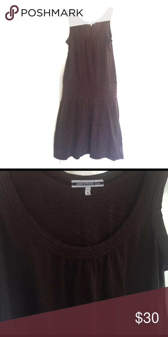 "James perse drop waist brown cotton dress Dark brown cotton dress. Super soft. Excellent condition. Drop waist. 38"" shoulder to hem. Size 1 equivalent to s/xs James Perse Dresses"