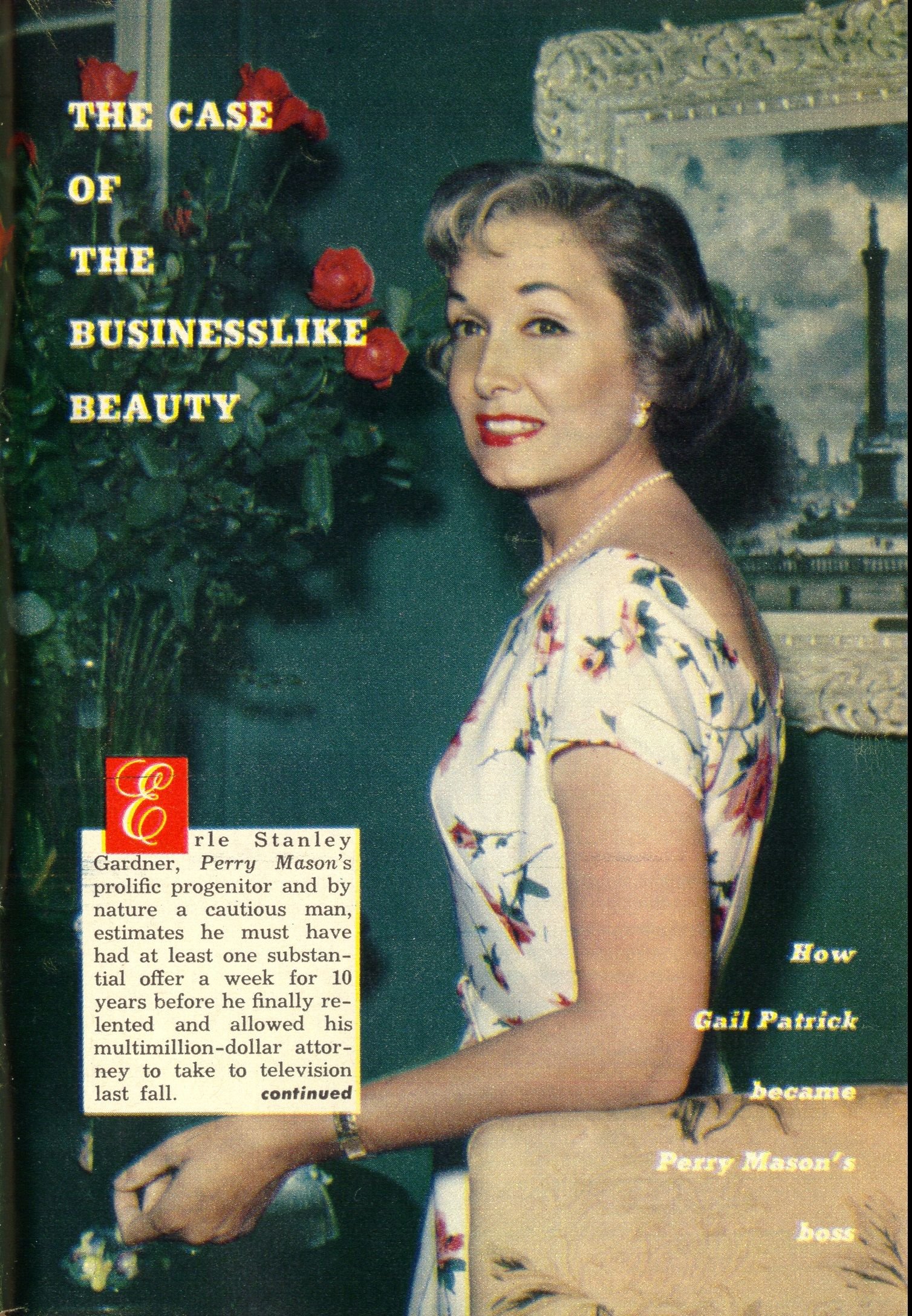 Gail Patrick Executive Producer Of The Perry Mason Tv Series 1957 1966 From Tv Guide June 23 1958 From Th Perry Mason Tv Series Perry Mason Gail Patrick