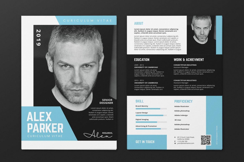 Clean minimalist cv resume flyer template cv design
