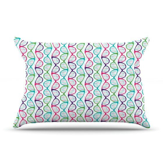 "Holly Helgeson ""Geeky DNA"" Pink Blue Pillow Case"