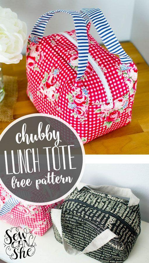 Chubby Lunch Tote - Free Sewing Pattern! | Taschen nähen, Nähen und ...