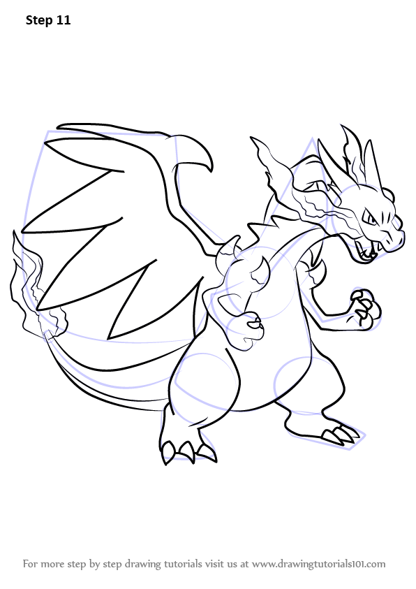 Learn How To Draw Mega Charizard X From Pokemon Pokemon Step By Step Drawing Tutorials Pokemon Coloring Pages Pokemon Coloring Pokemon Drawings