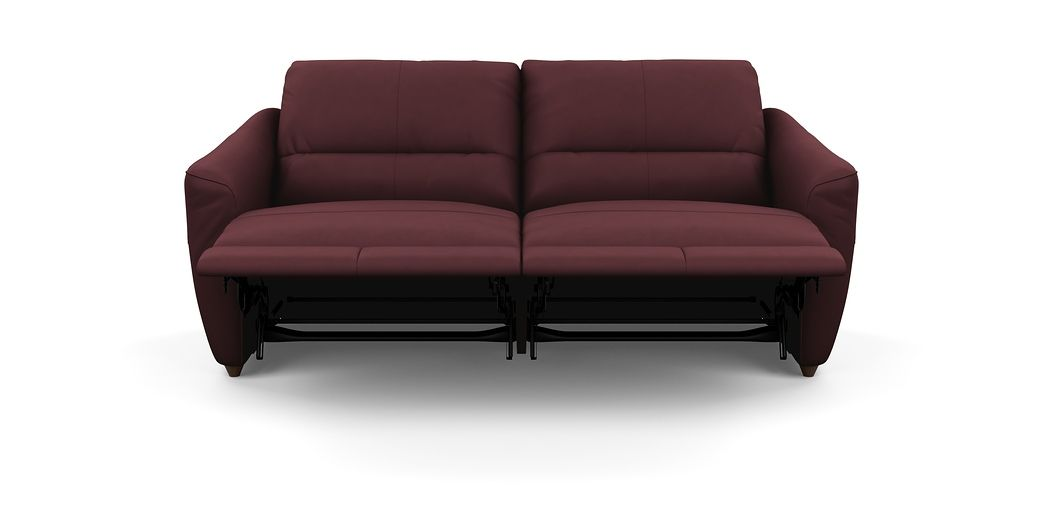 Modena 2 Seater Reclining Leather Sofa Who Manufactures Crate And Barrel Axis Cassia 5 Small With Electric Motions Recliner In Burgundy
