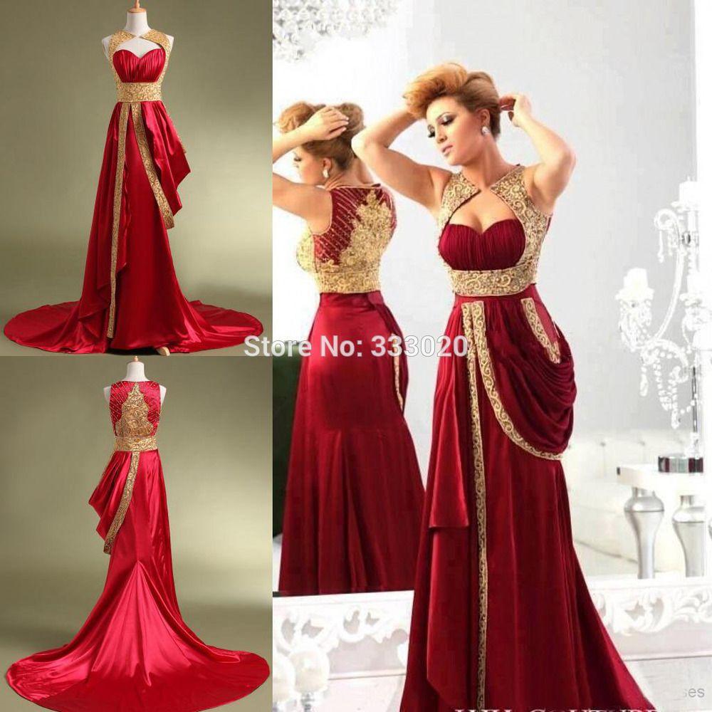 Schatz Gold und Rot Arabeske Abendkleider Elastische Satin Perlen ...