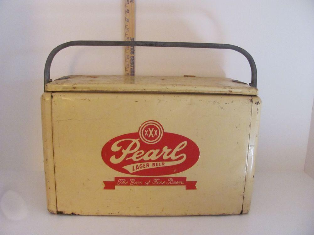 Vintage 1950's? Pearl Lager Beer Metal Beer Cooler Ice Chest