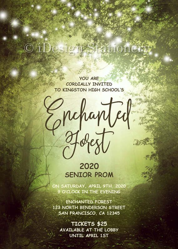 Enchanted Forest Prom Invitation With String Lights Printable