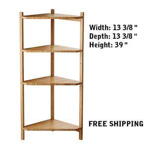 Corner Shelf Unit Bamboo Wall End Cabinet Open Bathroom Living Room Storage New Width 13 Depth Height 39