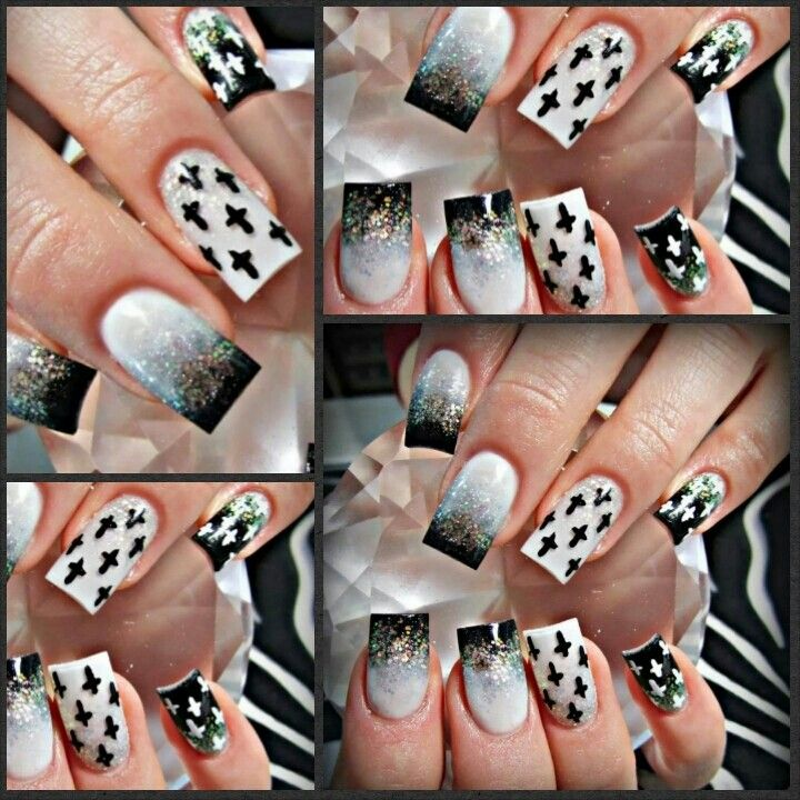 Acrylic Nail Designs With Crosses: Black White And Cross Acrylic Nails