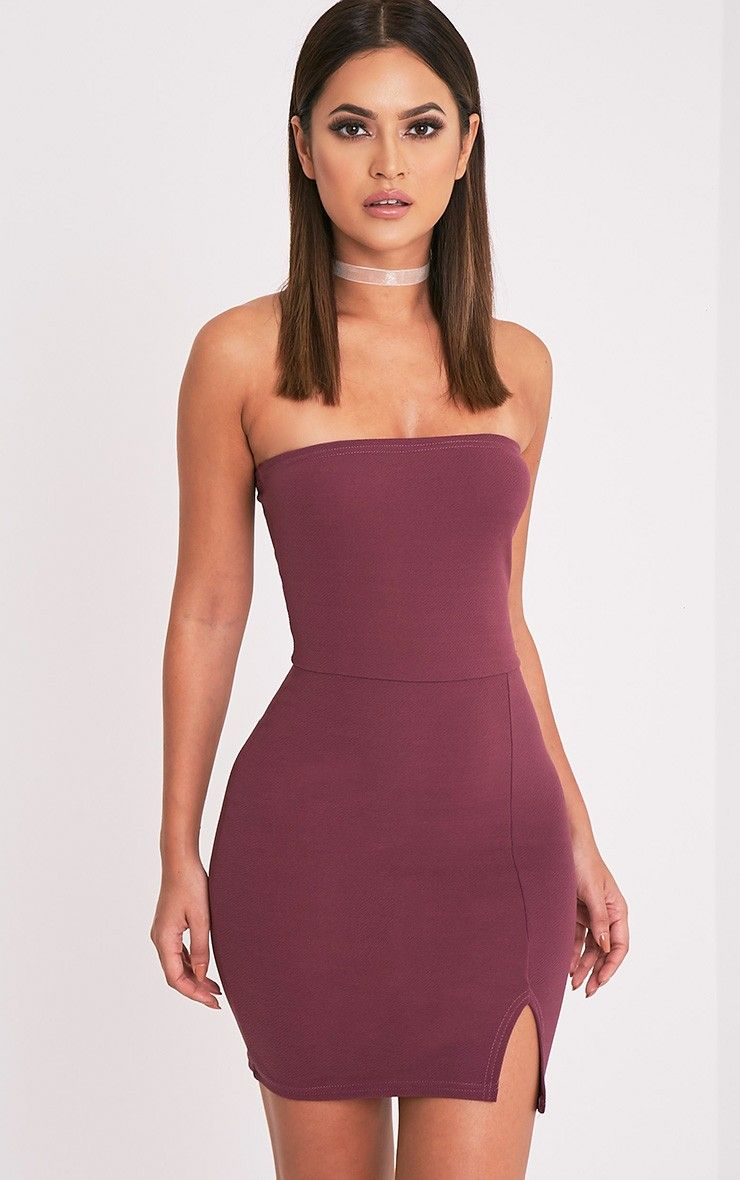 Dark Mauve Bandage Zip Detail Square Neck Bodycon Dress Pretty Little Thing