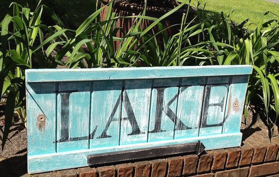 Lake Sign Beach House Decor Extra Large Weathered by CastawaysHall