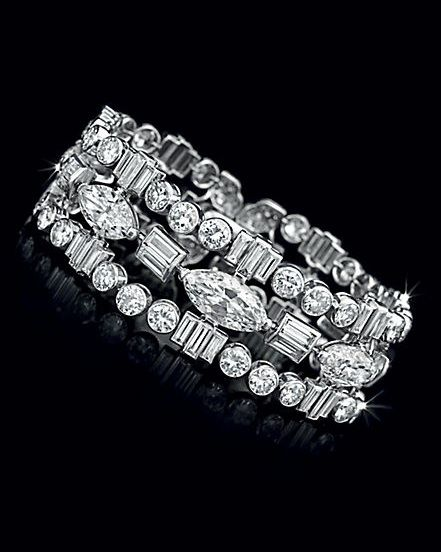 diamonds by the with stylized pattern in via library bracelet art diamond deco of circa roses boucheron