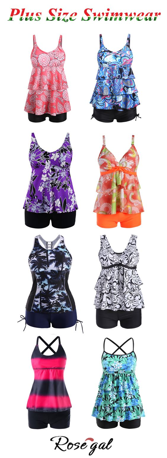 48f7cdca0ff Up to 40% off.Free shipping worldwide.Printed Plus Size Tier Flounce ...