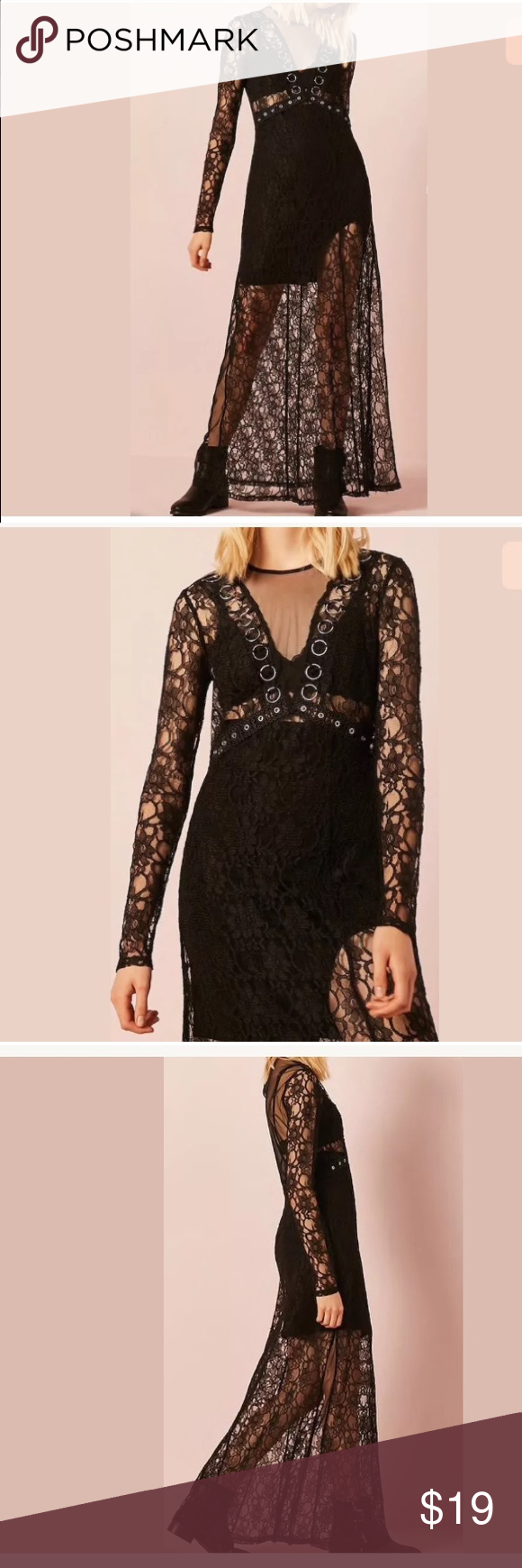 Forever sheer lace mesh o ring maxi long dress nwt pinterest