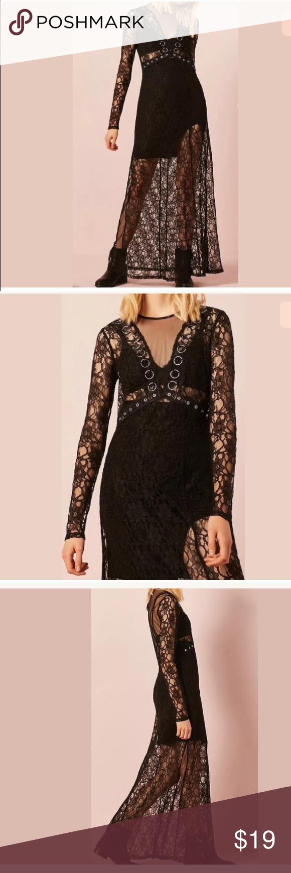 Forever sheer lace mesh o ring maxi long dress nwt pinterest
