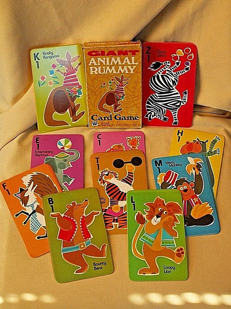 Animal rummy giant card game whitman 484420 complete 40