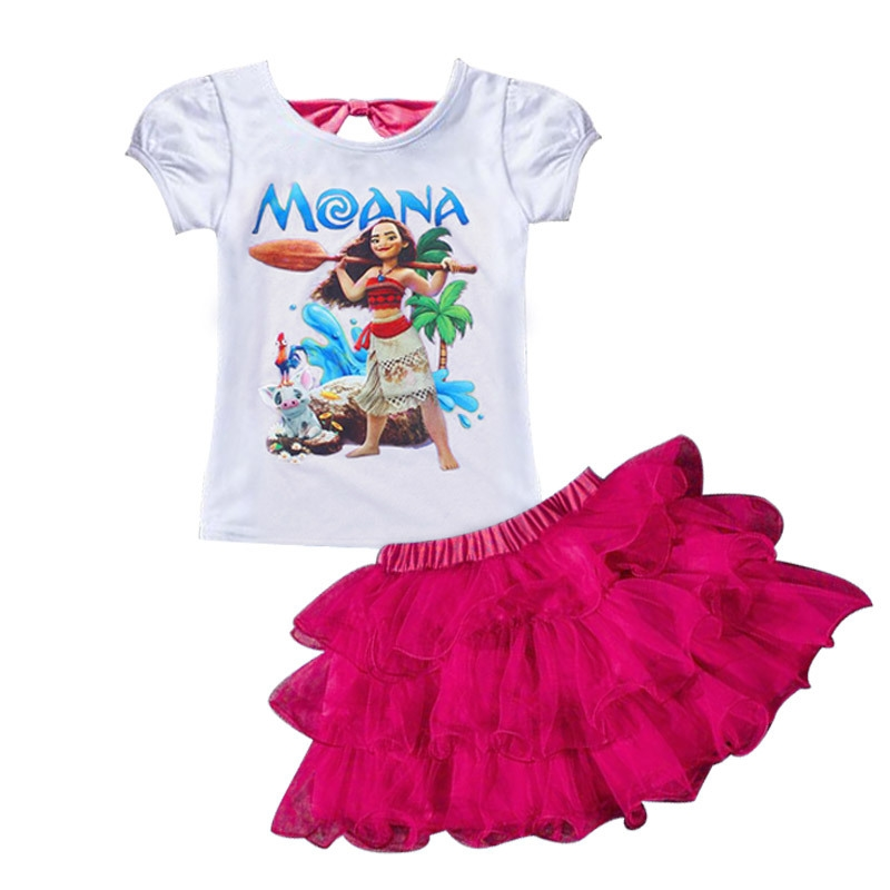 34.99$  Buy now - Summer Baby Girls Clothing Set MOANA Print t-shirt+skirt 2pcs outfit Suits Cotton Children Clothes red pink purple blue XDD-4054  #buyininternet