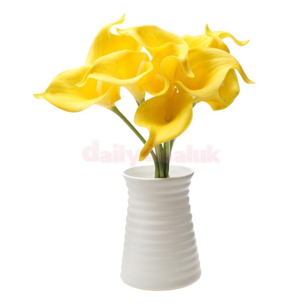 Artificial Pu Calla Lily Home Table Vase Flower Decor Bridal Bouquet Yellow