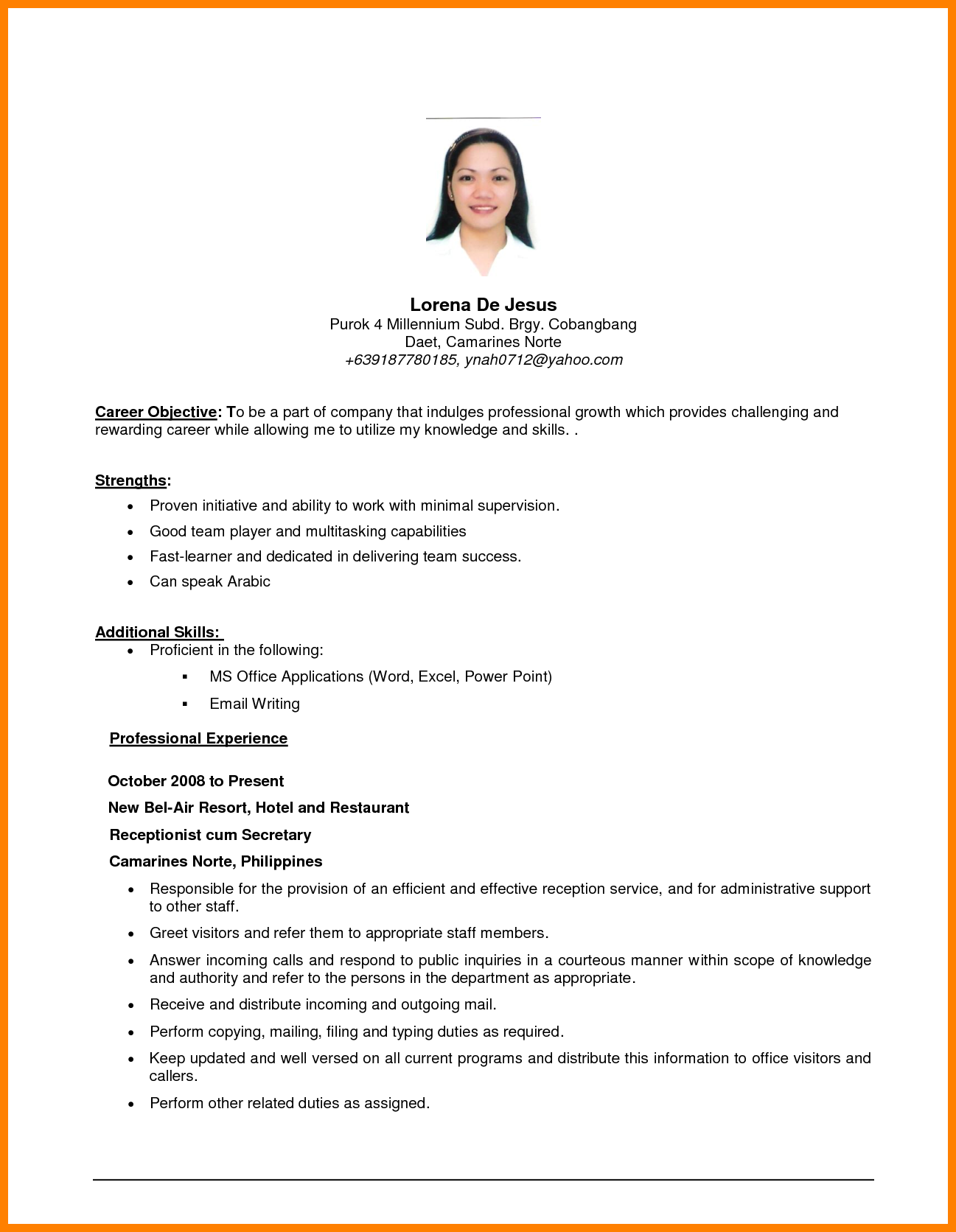 Examples for resume objectives