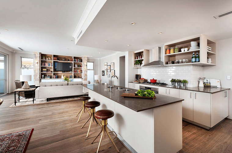 Cucina open space arredamento con isola centrale top in marmo di