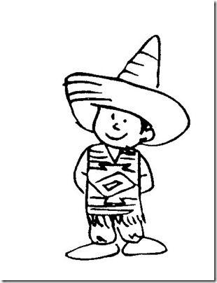 Niño Mexicano Para Colorear