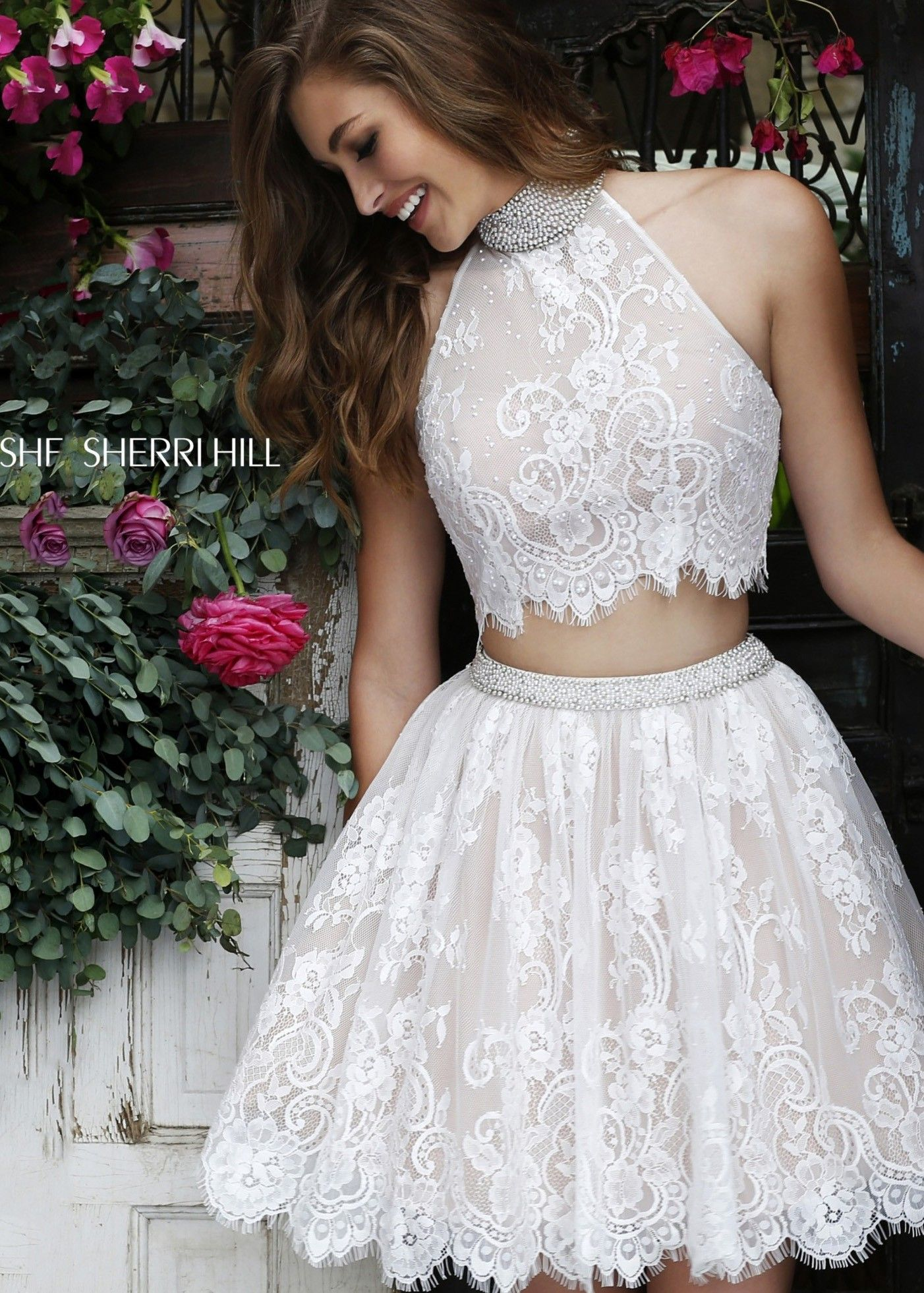 Sherri hill sparkly lace two piece dress