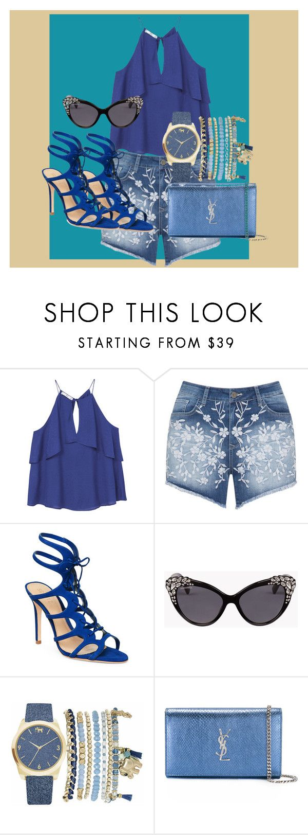 """Perfect for all ladies in the spring"" by nihadniks ❤ liked on Polyvore featuring MANGO, Mat, Schutz, Dsquared2, Mixit and Yves Saint Laurent"