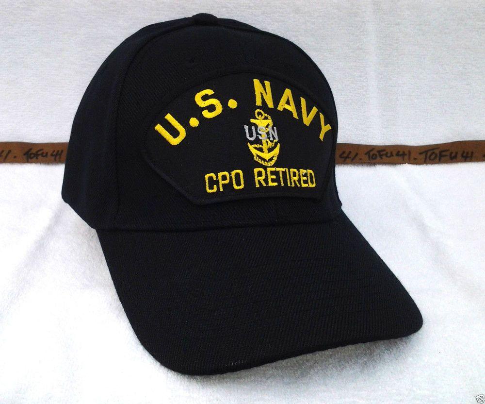 949e5b4277f US NAVY CHIEF PETTY OFFICER CPO RETIRED (BLACK) Military Veteran Hat 83 VV   BaseballCap