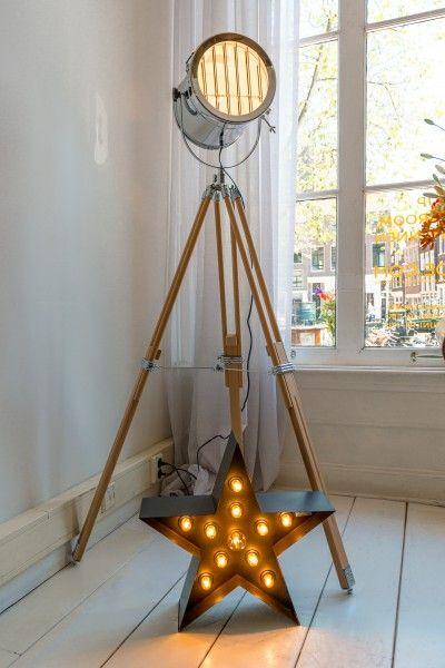 alfred driepoot staande lamp naturel hout tripod floor lamp