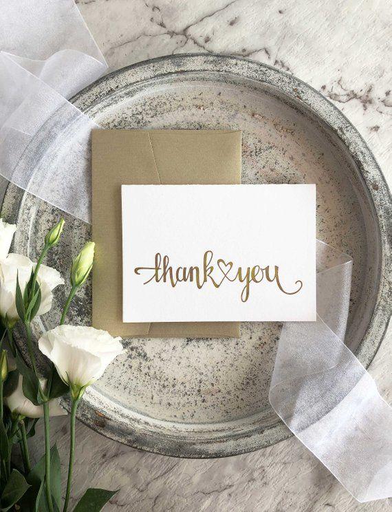 Wedding Thank You Card, Calligraphy Thank You Cards, Thank