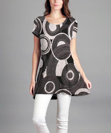 abfb7641b1e Loving this Black & White Circle Scoop Neck Tunic - Plus on #zulily!  #zulilyfinds