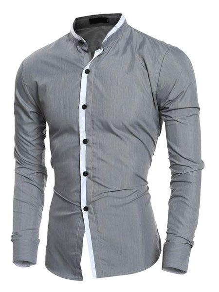 Stylish Grandad Collar Mens Shirt Casual Formal Celebration Elegant Tie Finish