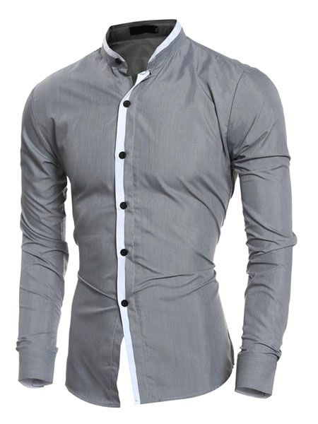 Men's Grey Shirt Long Sleeve Stand Collar Slim Fit Cotton Casual Shirt