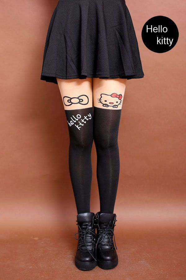 5ccdbfac204 New Fashion Women Nylon Cute Cat Totoro Knee High Tights 16 Styles Tat