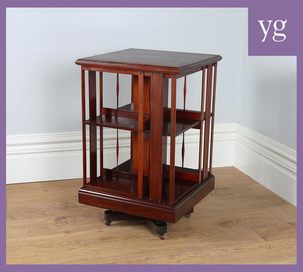 Antique edwardian mahogany revolving stand shelf bookcase book case