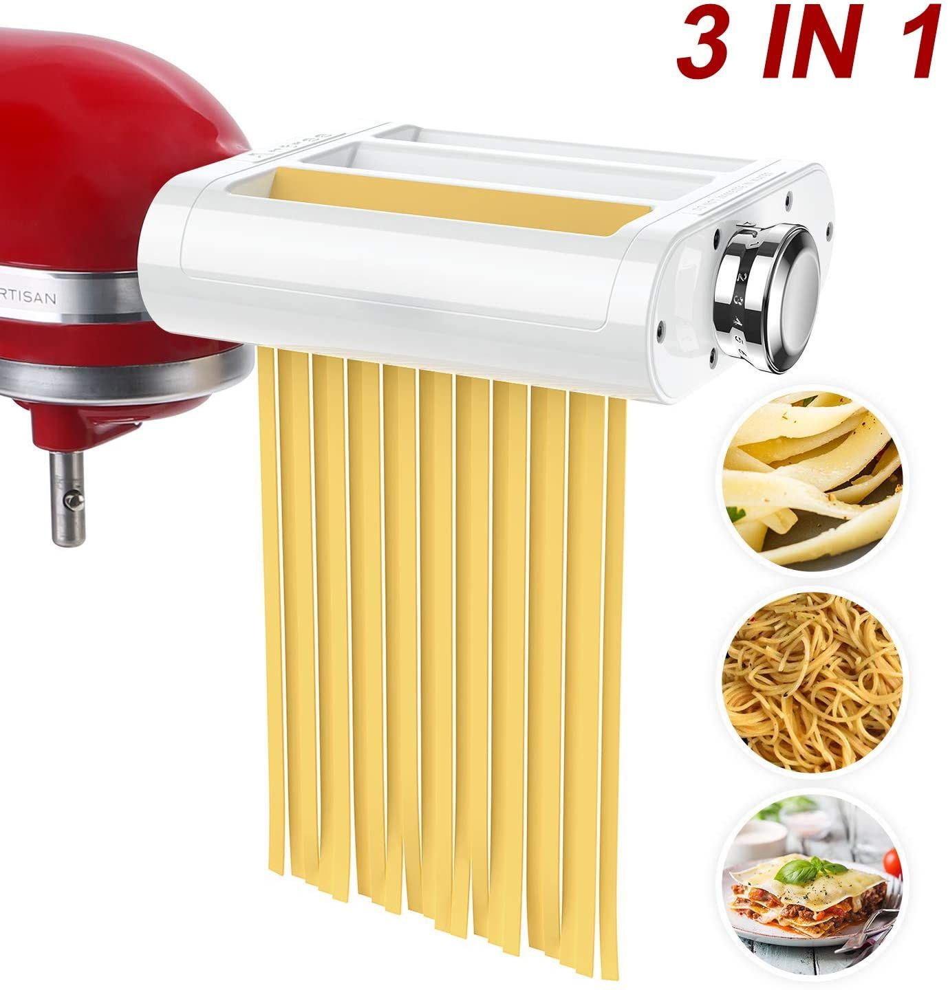 Antree Pasta Maker Attachment 3 In 1 Set For Kitchenaid Stand Mixers Included Pasta Sheet Roller In 2020 Pasta Maker Kitchenaid Stand Mixer Pasta Roller