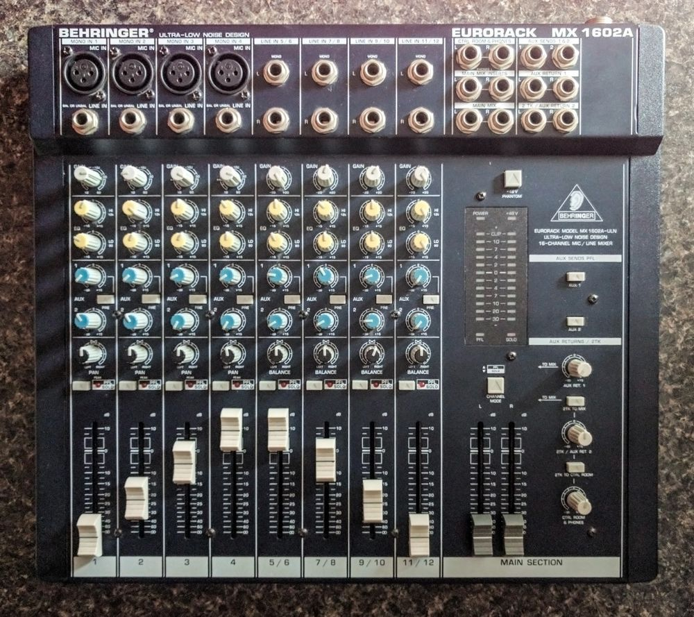 Behringer Eurorack Mx 1602a Audio Mixer Ultra Low Noise 16 Channel 6 Mic Line