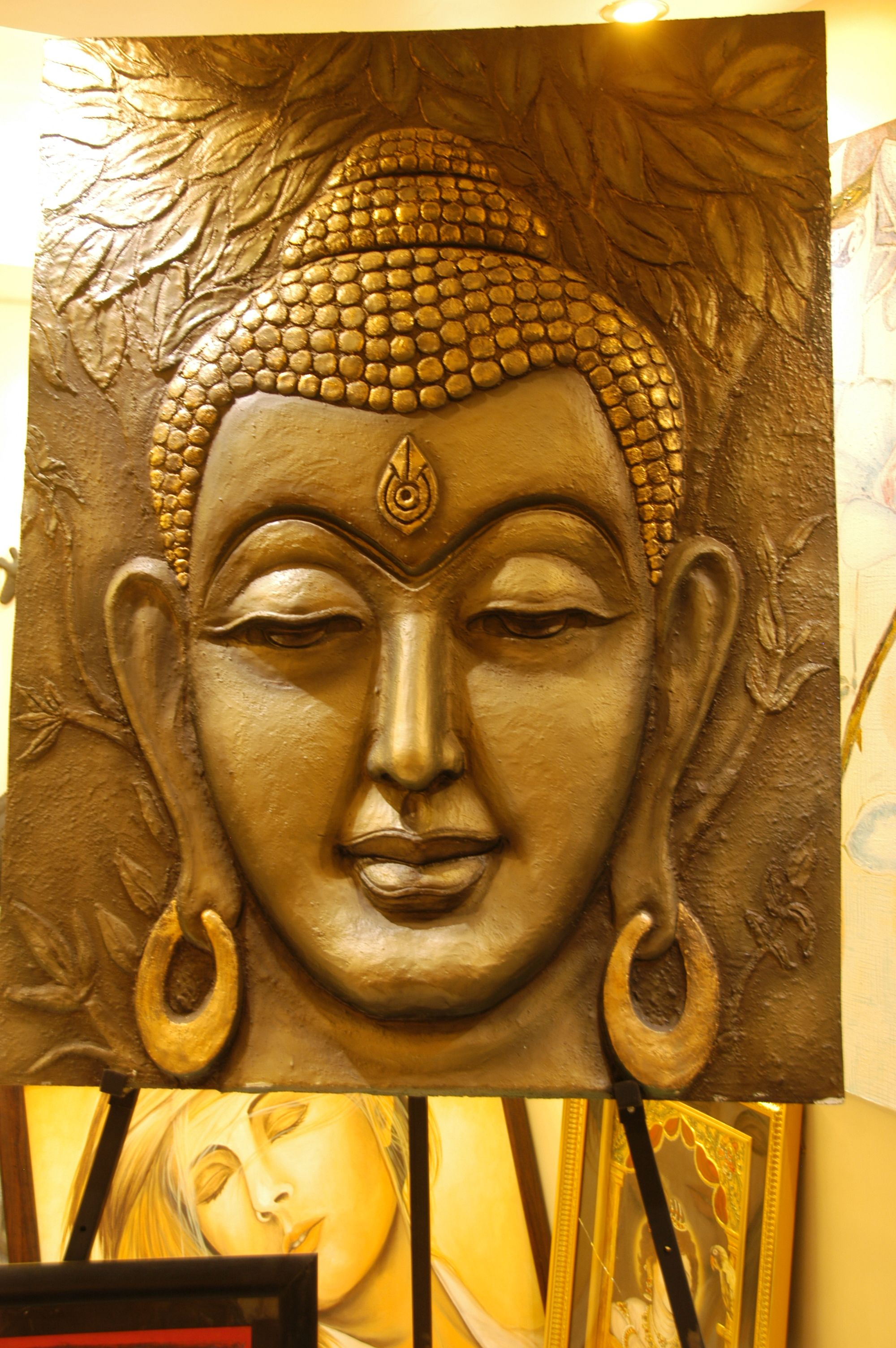 Buddha mural made of saw dust pop ceramic mpa for Buddha mural wallpaper