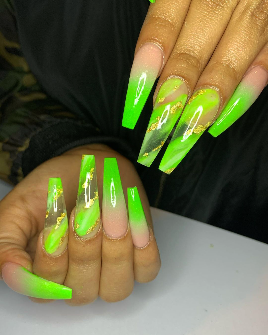 Lime Green Ombre Coffin Nails With Two Accent Lime Green Marble Nails Adorned With Gold Foil In 2020 Green Acrylic Nails Neon Green Nails Green Nail Designs