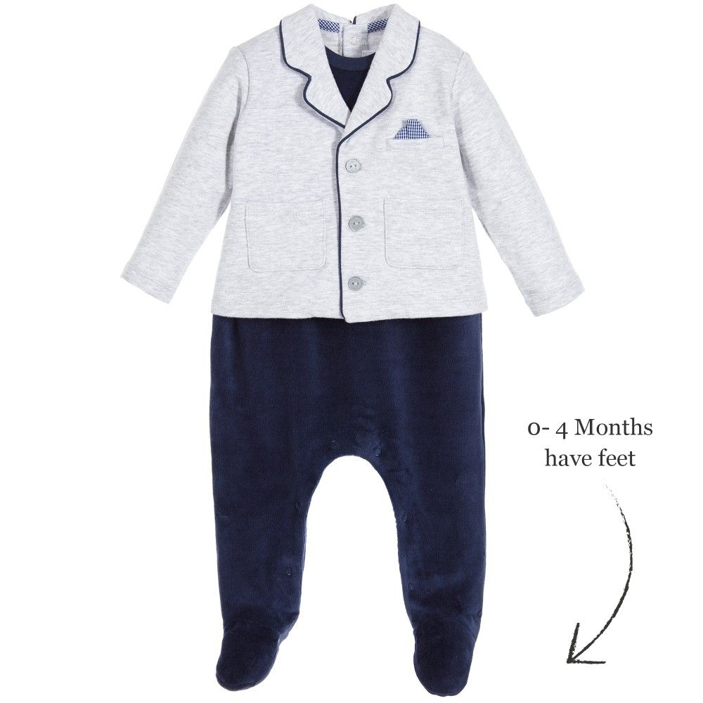 22196b0cbdcb Boys grey and blue babysuit by Mayoral. This all-in-one rompersuit ...