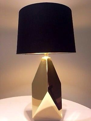 Mid Century Style Faceted Metal Brass Table Lamp Black Shade Gold