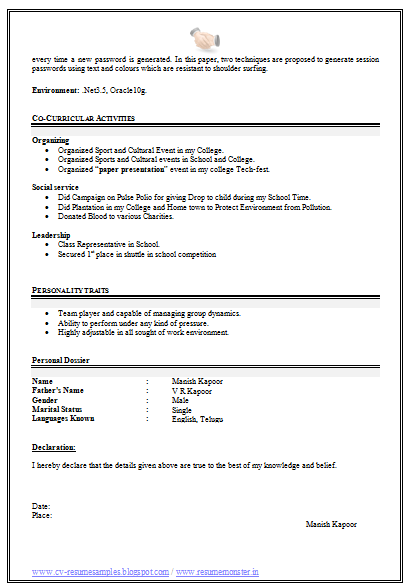 b tech it resume sample free download  2   with images