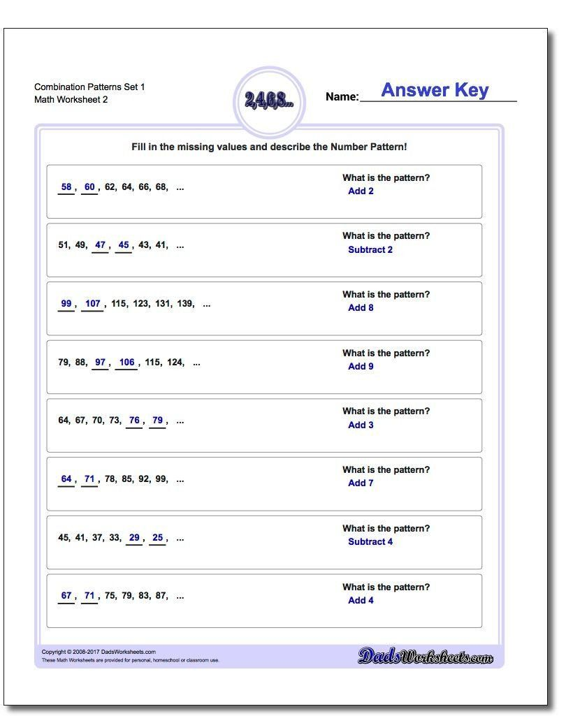 Sequences And Series Worksheet Answers Bination Patterns Set 1 Worksheet Number Patterns In 2020 Pattern Worksheet Number Patterns Number Patterns Worksheets
