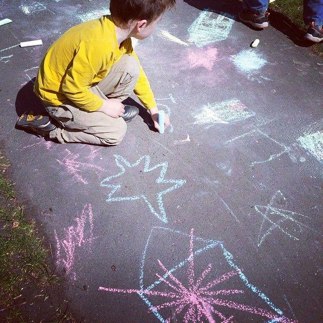 Child chalking #chalk #park #art #instapic #instagram #colours